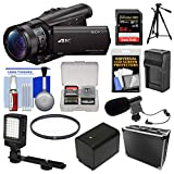 Sony Handycam FDR-AX100 Wi-Fi 4K HD Video Camera Camcorder with 64GB Card + Case + LED Light + Battery/Charger + Mic + Tripod + Filter Kit