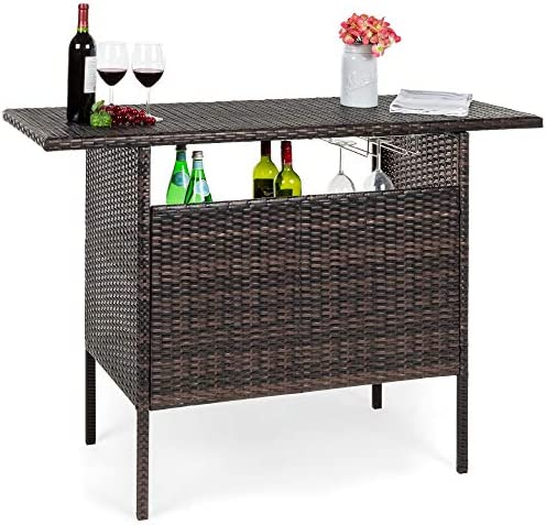 Best Choice Products Outdoor Patio Wicker Bar Counter Table Backyard Furniture w/ 2 Steel Shelves and 2 Sets of Rails