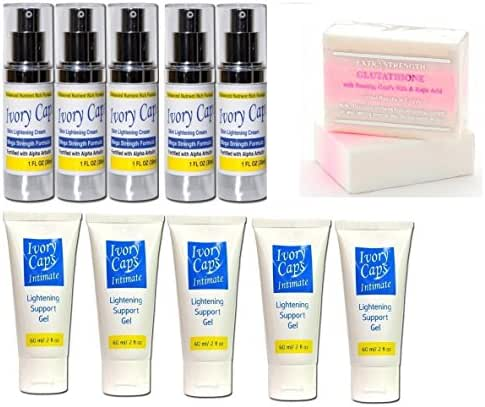 5 X Set of Ivory Caps (Skin Whitening Lightening Support Cream + Intimate Lightening Support Gel) + Premium Extra Strength Whitening Pink Soap