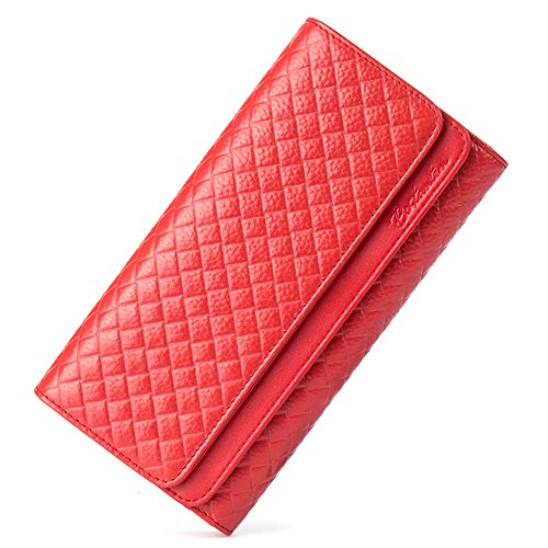 BOSTANTEN Women's Leather Wallets Zipper Clutch Handbags Credit Card Holder Red