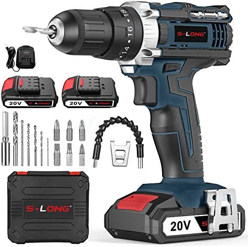 S-LONG 20V Cordless Drill Driver Set,Power Drill 3 8 with 2 Batteries and Charger LED Bits