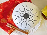 WuYou 7in C Tone Steel Drum Tongue Drum UFO handpan Chakra Drum, White, Free bag, whte