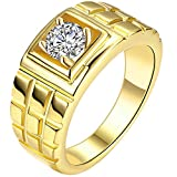 MENSO Jewelry Men's Cz Layered Squares Fashion Cubic Zirconia Plated Gold Ring 9