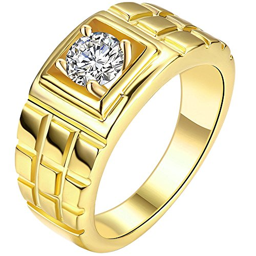 MENSO Jewelry Men's Cz Layered Squares Fashion Cubic Zirconia Plated Gold Ring 8