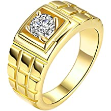 MENSO Jewelry Men's Cz Layered Squares Fashion Cubic Zirconia Plated Gold Ring