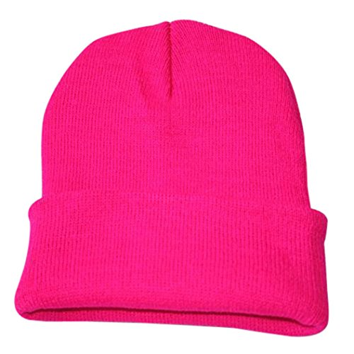 Unisex Solid Slouchy Knitting Beanie Warm Cap Ski Hat (Hot Pink)