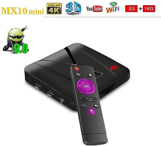 WXJHA Smart TV Box, Android 9.0 Streaming Media Player 2 GB 16 GB, Quad Core de 64 bits Smart TV Box 3D 4K HDR vídeo Reproducción: Amazon.es: Hogar