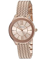 Anne Klein Womens AK/2208RGRG Swarovski Crystal Accented Rose Gold-Tone Mesh Bracelet Watch