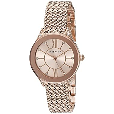 Anne Klein Women's AK/2208RGRG Swarovski Crystal Accented Rose Gold-Tone Mesh Bracelet Watch