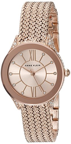 Anne Klein Women's AK/2208RGRG Swarovski Crystal Accented Rose Gold-Tone Mesh Bracelet Watch