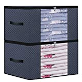 Onlyeasy Foldable Storage Bag Organizers for Closet - Pillow Beddings Blanket Clothes Organizer Storage Containers with Solid Metal Zipper, Breathable, 22.8''x19.3''x13.8'', Dark Grey, MX3GR60M