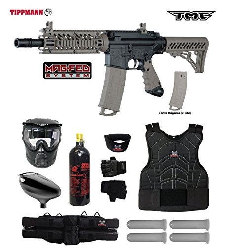 Tippmann TMC MAGFED Starter Protective CO2 Paintball Gun Package - Black/Tan