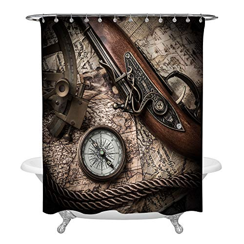 Old World Pirate Shower Curtain Liner, Ancient Nautical Map with Compass Sextant and Pistol Vintage Ocean Themed Home Ornament, Water Resistant Polyester Cloth with Free Hooks, Brown, 72 x 72 Standard -
