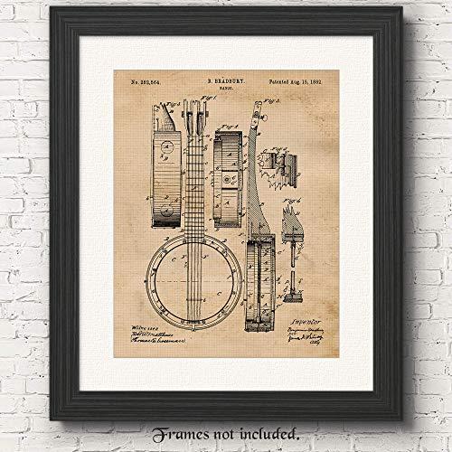 Original Banjo Patent Poster Print, Set of 1 (11x14) Unframed Photo, Great Wall Art Decor Gifts Under 15 for Home, Office, Garage, Man Cave, Student, Teacher, Musician, Country & Bluegrass Music Fan