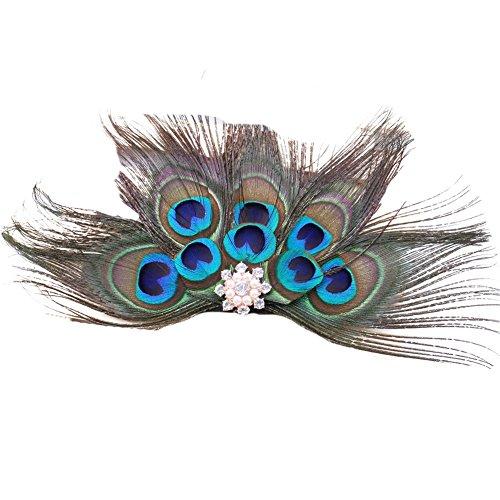- ACTLATI Retro Peacock Feather Rhinestone Fascinator Hair Clip Party Hairpin Roaring 20s Headpiece