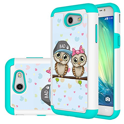 Galaxy J3 Emerge Case,Galaxy Express Prime 2 Case,J3 Prime Case,Yiakeng Shockproof Impact Protection Tough Rugged Dual Layer Protective Armor Case Cover for Samsung Galaxy J3 2017(lovely Owl) (Owl Phone Case For Samsung Galaxy)