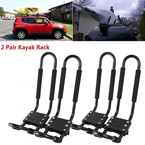 - TCMT Universal Roof J-Bar Rack Kayak Boat Canoe Car SUV Top Mount Crossbar (2 Pairs, Black)