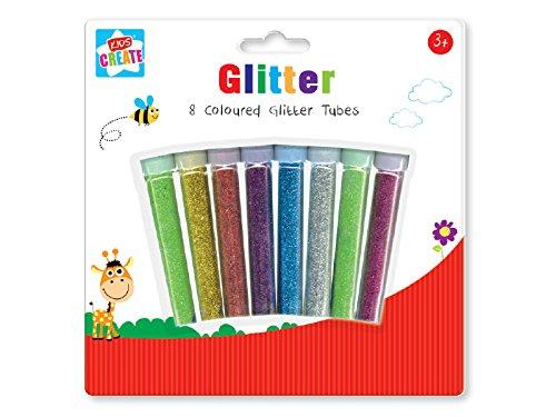 Anker Kids Create - Lot de 8 tubes de paillettes en plastique pour loisirs et créations, couleurs assorties, 29,7x21x2cm GLTU