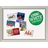 Amanti Art Framed White Christmas Card Cork Board, Romano Silver: Outer Size 32 x 24''