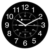 Ambient Weather Atomic Radio Controlled Wall Clock with Black/White, Inner Minute Markers RC-1200BWDN,