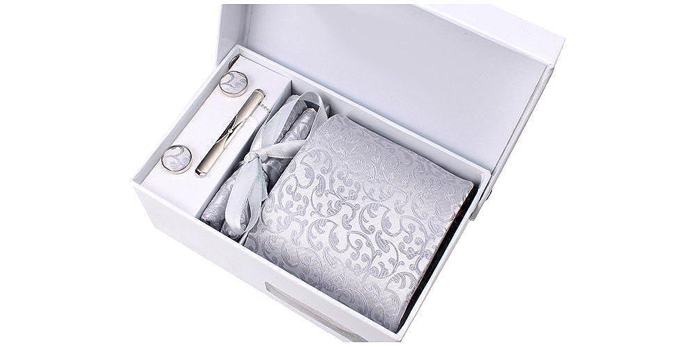 boutons de manchette pince /à cravate pochette de costume Cravate gris clair satin/é /à motif floral ton sur ton Coffret Nashville