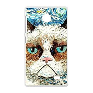 Aggrieved White cat Cell Phone Case for Nokia Lumia X