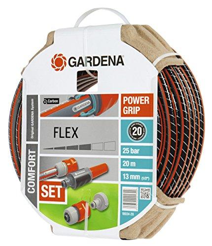 Gardena Comfort Flex Schlauch 9 x 9, 13 mm, 1/2 Zoll, 20 m, mit Systemteilen, 18034-20