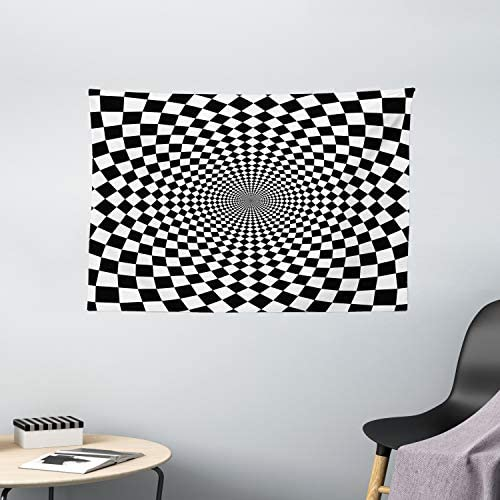 Ambesonne Black and White Tapestry, Optic Illusion Motif Zoom Minimalist Reflecting Symmetric Squares Artwork, Wide Wall Hanging for Bedroom Living Room Dorm, 60 X 40 , White Black
