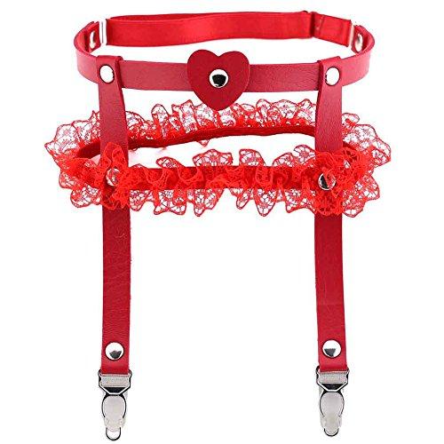 bjduck99 Women Girls Leather Leg Garter Love Heart Adjustable Stocking Garter Belts ()