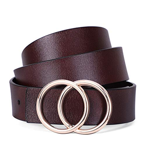 Faux Leather Belts Jeans Waist Belts With Gold Double Ring Buckle By SANSTHS