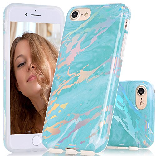 BAISRKE Green Marble Case with Gorgeous Holographic Pattern Laser Style Design Slim Black Bumper TPU Soft Rubber Silicone Cover Phone Case for iPhone 7 (2016) / iPhone 8 (2017) [4.7 inch]
