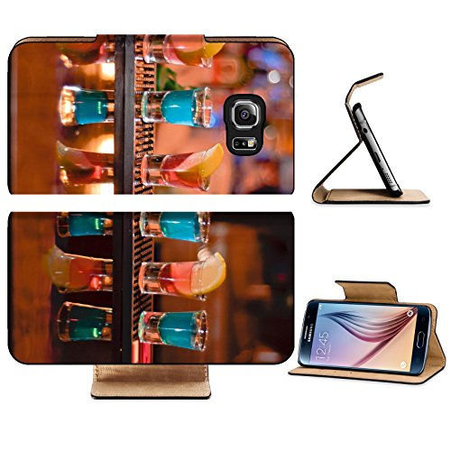 Luxlady Premium Samsung Galaxy S6 Edge Flip Pu Leather Wallet Case IMAGE ID 7989476 Row of shots on the bar tequila and blue curacao