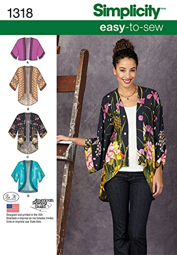 Simplicity Creative Patterns 1318 Misses' Kimono Jackets Sewing Patterns, Size A (XXS-XS-S-M-L-XL-XXL)