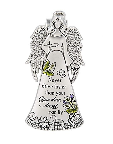 "Ganz Zinc Visor Clip ""Never Drive Faster than Your Guardian Angel Can Fly"""
