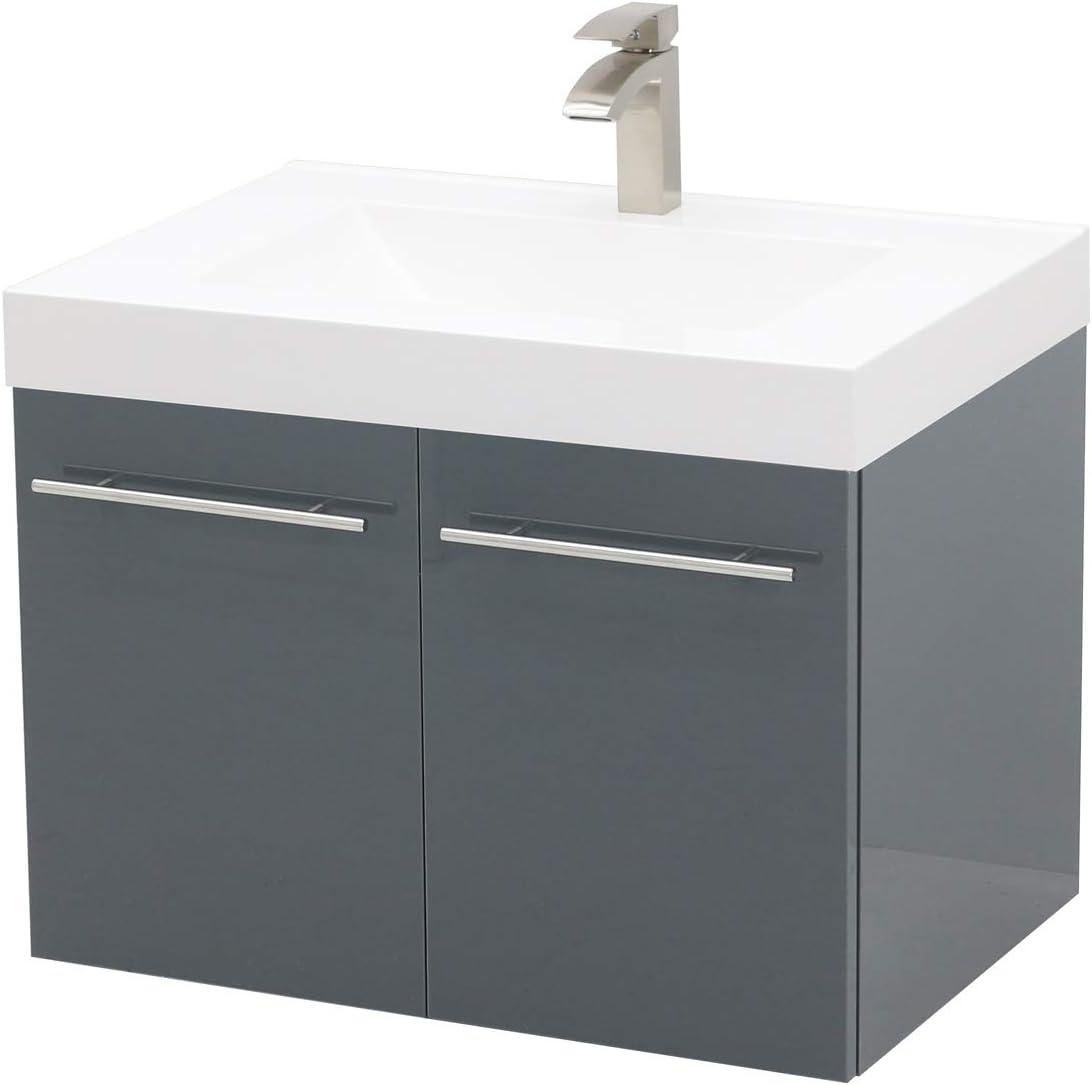 WindBay Wall Mount Floating Bathroom Vanity Sink Set. High Gloss Dark Grey Vanity, White Integrated Sink Countertop – 35.25