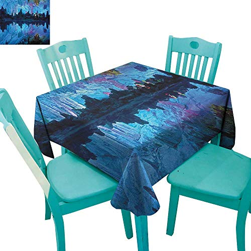 longbuyer Natural Cave,Washable Tablecloth,Illuminated Reed Flute Cistern with Artifical Crystal Palace Myst Cave Image Print,54