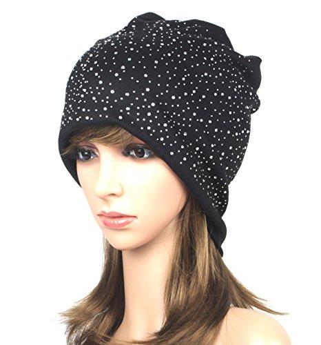 Super iMan Womens Wool Plush Baggy Beanie Hat Slouchy Glittering Rhinestones Oversized Cap (Black) Black Oversized Rhinestone