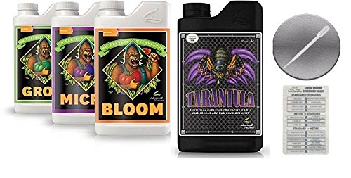 Advanced Nutrients Bloom, Grow, Micro 500mL & Tarantula 250mL Bundle with Conversion Chart and 3mL Pipette