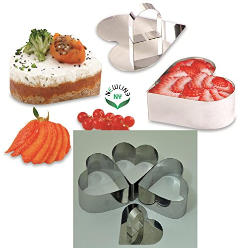 NewlineNY Stainless Steel Dessert Rings (4 Pcs Heart Shape) -