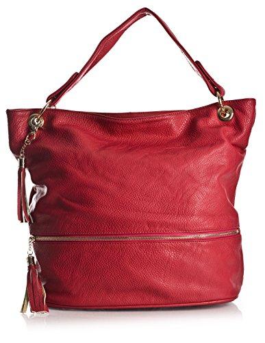 BHBS Bolso de Hombro para Dama en Imitación Piel con un Asa Superior 38x33x18 cm (LxAxP) Rojo