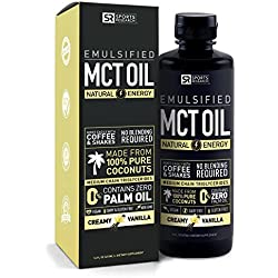 Emulsified MCT OIL supporting energy and healthy metabolism   Mixes easily into any liquid - 100% Coconut sourced (Creamy Vanilla)
