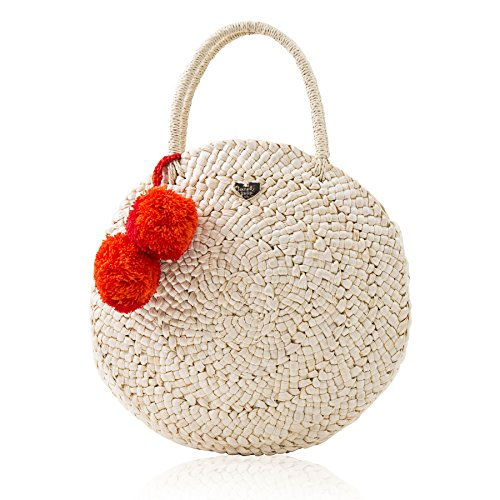The Lovely Tote Co. Women's Pom Pom Round Straw Bag, Natural