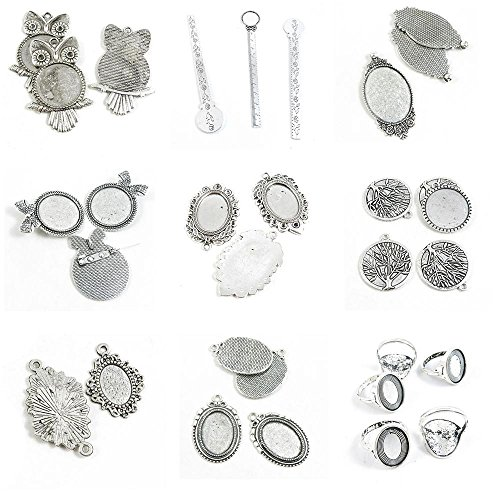 - 31 Pieces Antique Silver Tone Jewelry Making Charms Ring Blank Cabochon Setting Oval Base 14x10mm Life String Tree Oak Feather Pinback Brooch Ruler Bookmark Frame 20mm Owl