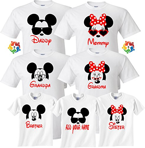 Arts & Designs Mickey & Minnie Custom Name Tshirts Funny Cute Custom Matching Shirts Large Adult Unisex]()