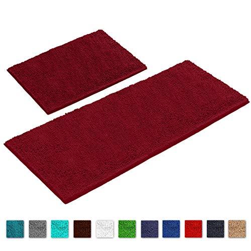 "LuxUrux Bathroom Rug Mat Set-Extra-Soft Plush Bath Shower Bathroom Rug,1"" Chenille Microfiber Material, Super Absorbent. Machine Wash & Dry (Rectangular Runner Set, Maroon-Red)"