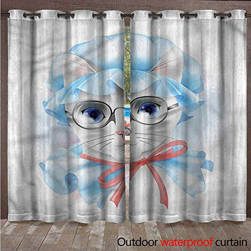 cobeDecor Cat Outdoor Curtains for Patio Sheer Grandma Old Kitty in Pyjamas W96 x L96(245cm x 245cm) -