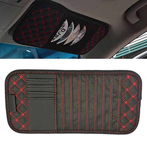 ChiTronic Car Vehicle Sunvisor CD Organizer Holder Cases with 8 CD DVD Pockets + 4 Card Pockets + 1 Pen Pocket, Red Sewing