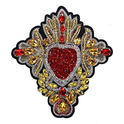 (Embroidery Beaded Rhinestone Heart Patches Sew on Sequin Badge for Clothing Repair Applique Craft 2pieces)