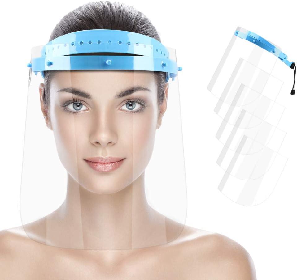 KALAOK Visera Protectora, Pantalla Protección Facial Transparente, Pantalla Protectora Cara, Visera De Seguridad, Protector Facial De Plástico Transparente Ligero (1 Marcos + 5 Películas)