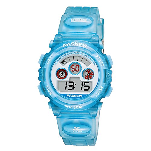 Kids Digital Sports Watches Boys / Girls Child Waterproof Chronograph Alarm Running Watch Unisex Fun Blue Wrist Watch, Automatic Day and Date, Stop Watch Image